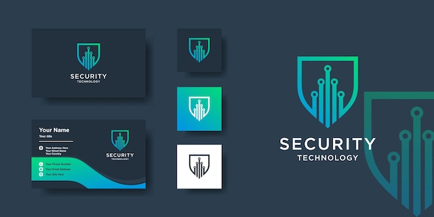 Security logo template with modern creative shield style and business card design