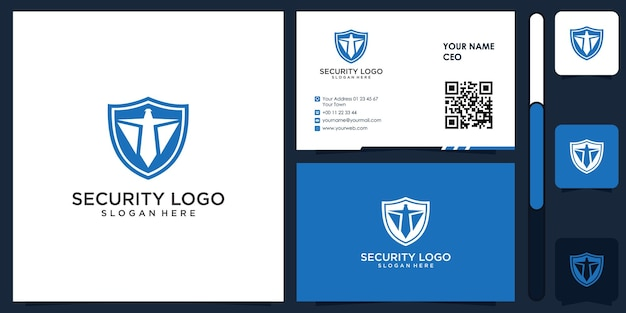 Security logo with business card design vector premium