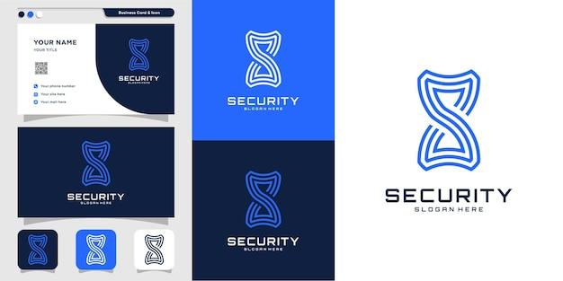 Security logo with creative unique concept premium vector