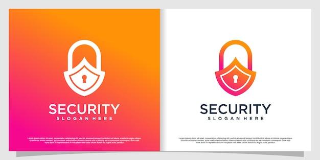 Логотип безопасности в современном стиле premium vector часть 1