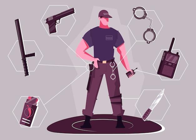 Концепция охранника с жестоким мужчиной в стоячем положении, держащим рацию и наручники
