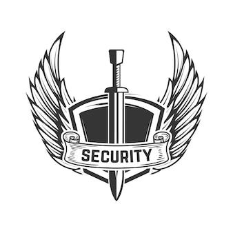 セキュリティ。翼を持つ中世の剣。ロゴ、ラベル、エンブレム、記号、バッジの要素。図