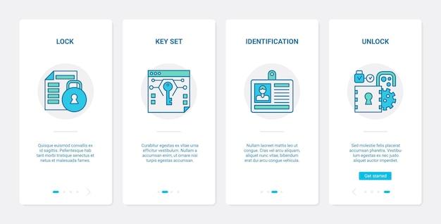 보안 현대 기술. ux, ui 온 보딩 모바일 앱 세트 잠금 및 안전한 디지털 시스템 잠금 해제, 개인 키 식별, 보안 웹 기호 잠금 해제