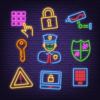 Security neon icons