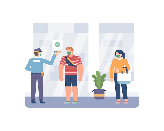 Сотрудник службы безопасности измеряет температуру тела покупателя с помощью термометра перед входом и покупкой в магазине.