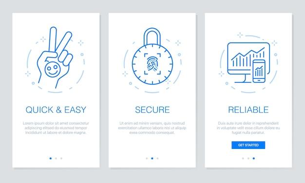 Security onboarding app screens.