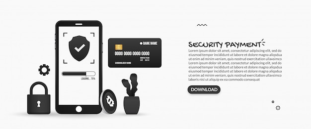 Security online payments, internet banking concept