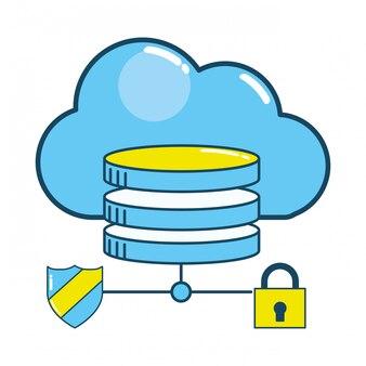 Security padlock support cartoon