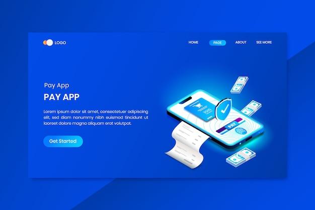 セキュリティ支払いアプリのアイソメトリックコンセプトのランディングページ