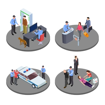 Security and police work isometric vector situations