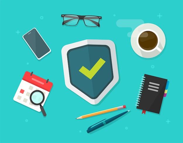 Концепция защиты безопасности щит на рабочем столе бизнес стол плоская планировка