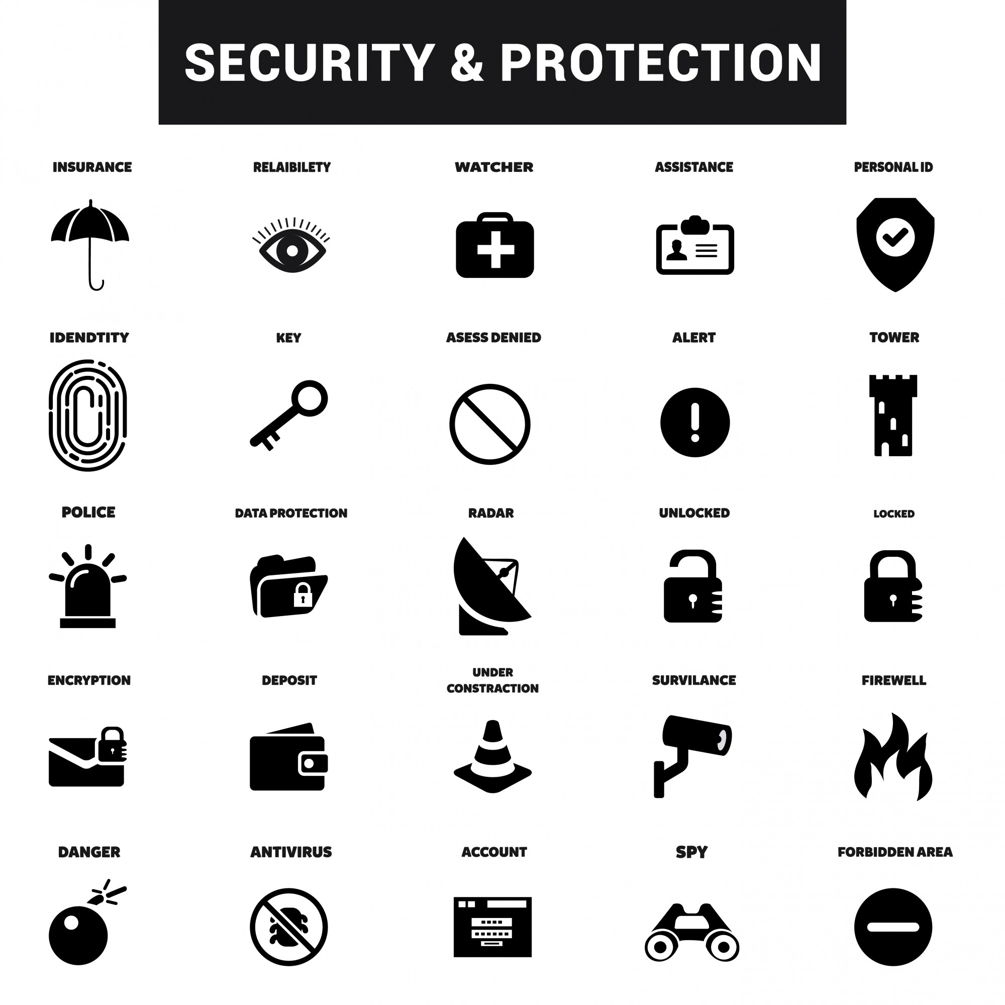 Security protection icons set vector