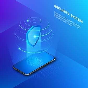 Security and protection private data. mobile phone with shield hologram security system concept.  isometric illustration