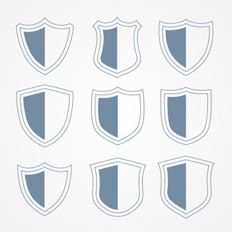 Security protection shield icons set