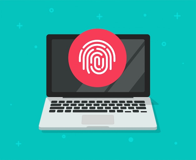 Security protection via touch fingerprint or thumbprint on computer laptop flat