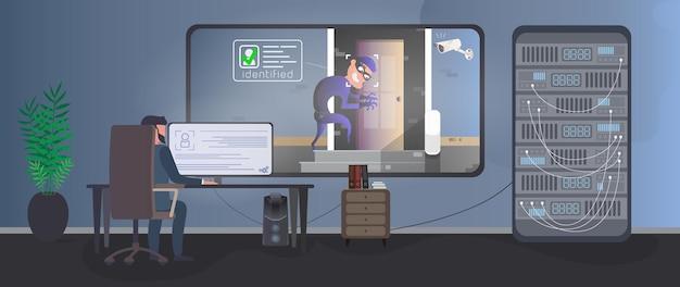 Комната охраны. охранник наблюдает за грабителем в комнате охраны. идентификация вора. вор пытается проникнуть в дом. концепция безопасности. вектор.