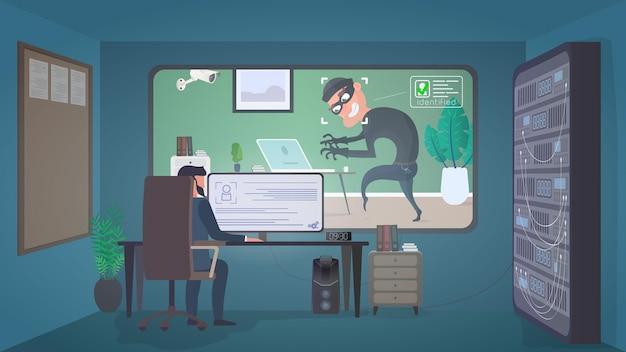 Комната охраны. вор в маске крадет ноутбук. преступник проник в квартиру.