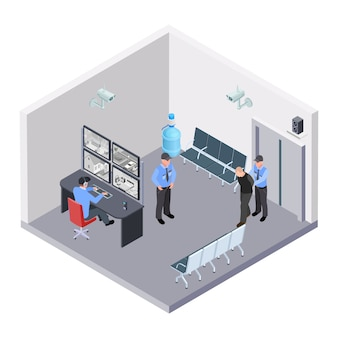 Security room in airport, railway or bus station