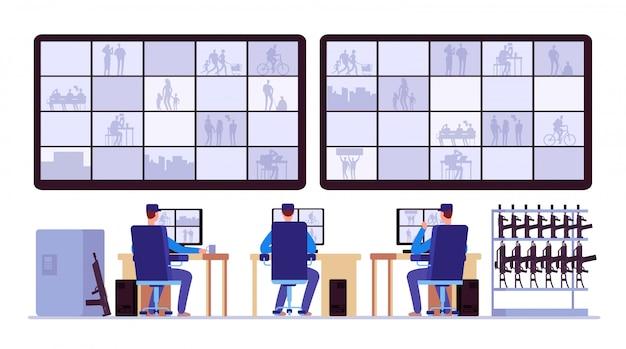 Комната охраны. мониторинг профессионалов в центре управления с помощью видеонаблюдения