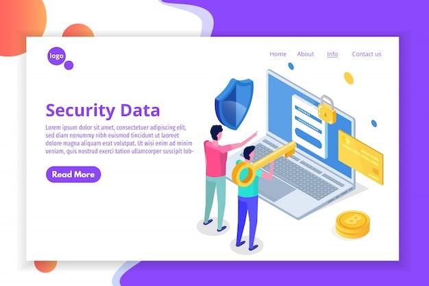보안, 안전 및 기밀 개인 데이터 보호 아이소 메트릭 개념.