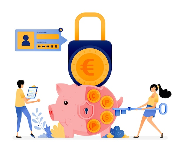 Security in saving personally. protection for finance and banking system