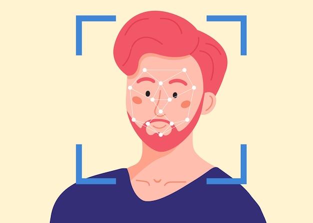 男性の頭にセキュリティスキャンフレームとドットポリゴンメッシュ。顔認識システム。