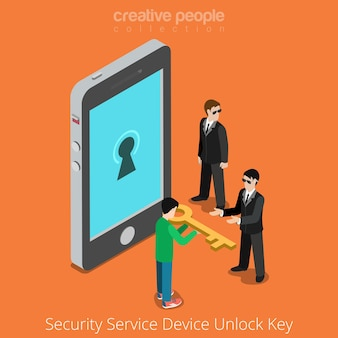 Security service device unlock key. special agents taking universal clue to smartphone.