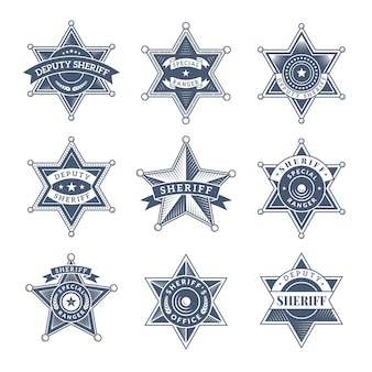 Охранные значки шерифа. полицейский щит и офицеры логотип техасские рейнджеры символы