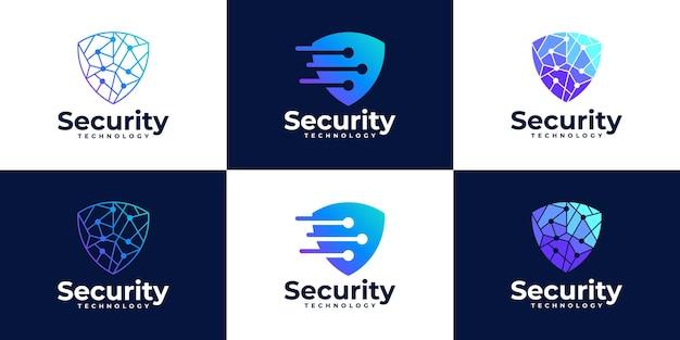 Концепция защитного щита. интернет-безопасность. коллекция логотипов