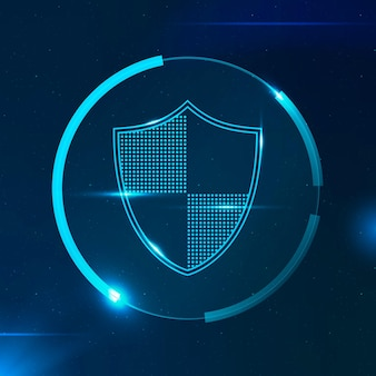 Технология кибербезопасности щит безопасности в голубых тонах