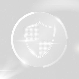 Tecnologia di sicurezza informatica vettoriale scudo di sicurezza in tono bianco