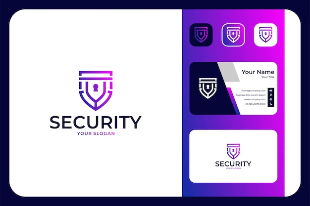 Security shield with key logo design and business card