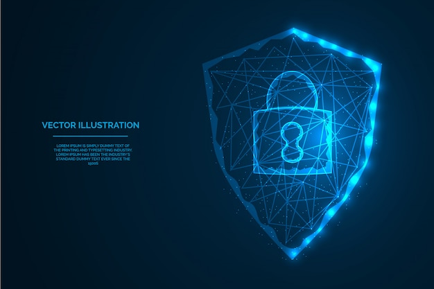 Security shield with lock sign concept low polygon digital illustration  .
