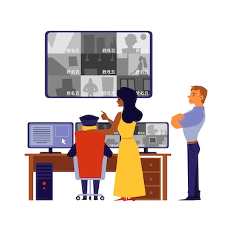 Security staff helps in crime solving or investigation watching camera records on big screens and monitors,  cartoon  illustration  on white background.