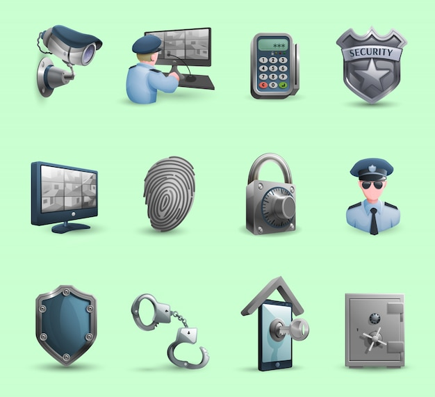 Security symbols icons set