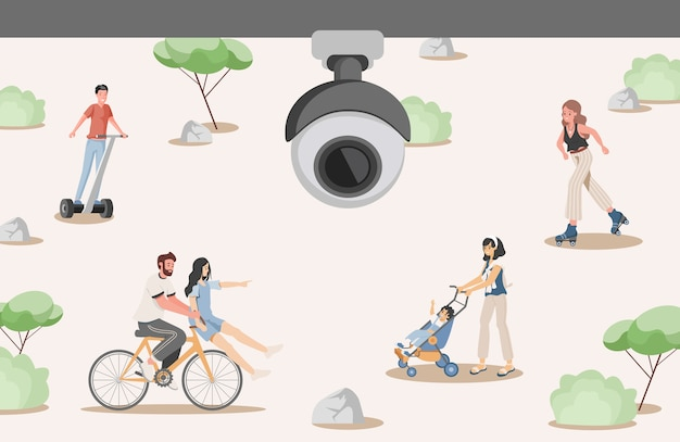 Security system in city park flat illustration. cctv camera filming happy people walking in urban park. video surveillance security system concept.