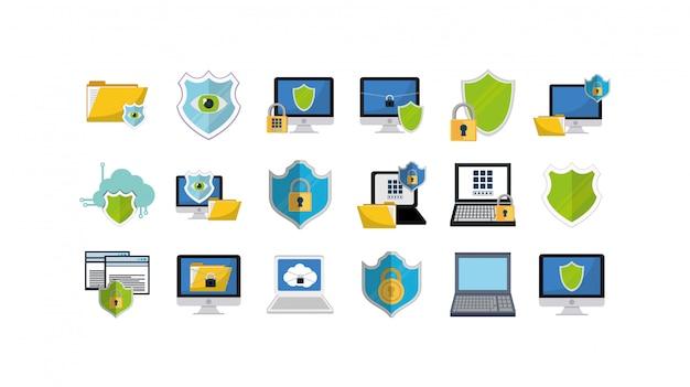 Набор иконок системы безопасности