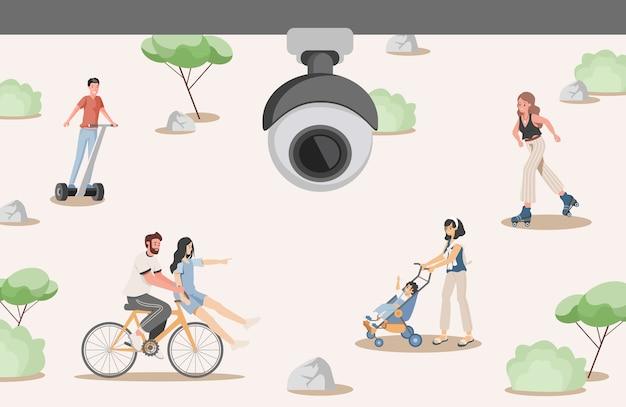 Система безопасности в городском парке плоской иллюстрации. камера видеонаблюдения снимает счастливых людей, идущих в городском парке. концепция системы безопасности видеонаблюдения.