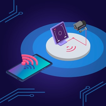 Security system isometric color illustration. surveillance camera remote control, monitoring smartphone app. smart home protection, alarm system 3d concept isolated on blue background