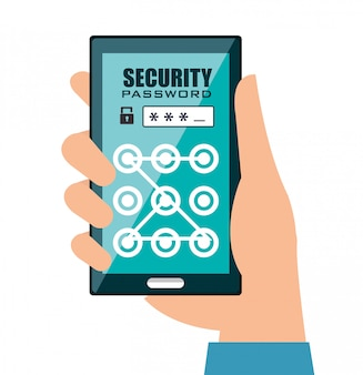 Security system technology design in flat style