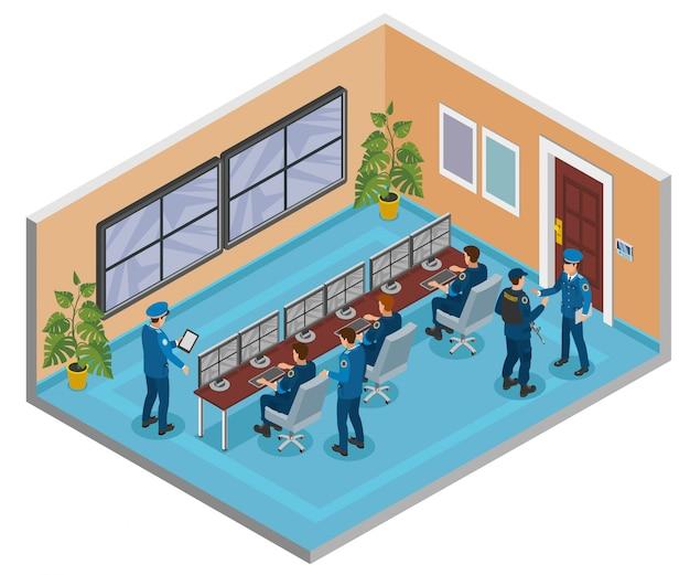 Изометрическая композиция систем безопасности с камерами видеонаблюдения, мониторинг и реагирование операторов, интерьер комнаты