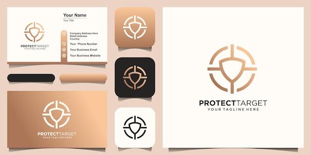 Шаблон дизайна логотипа цели безопасности. символ щит в сочетании со знаком цели.