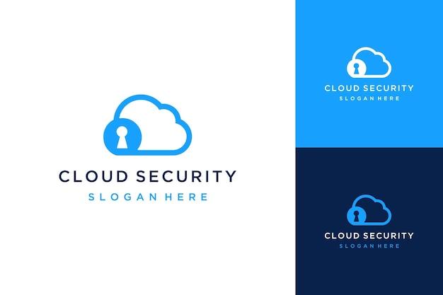 Дизайн логотипа технологии безопасности или облако с замочной скважиной и кругом