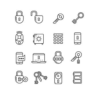 Security thin line vector icons