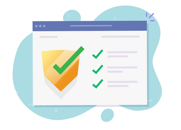 Security verification check computer software guard online for internet website virus attack protection