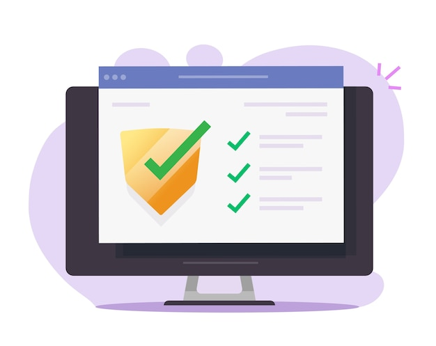 Security verification check digital online on computer pc web software