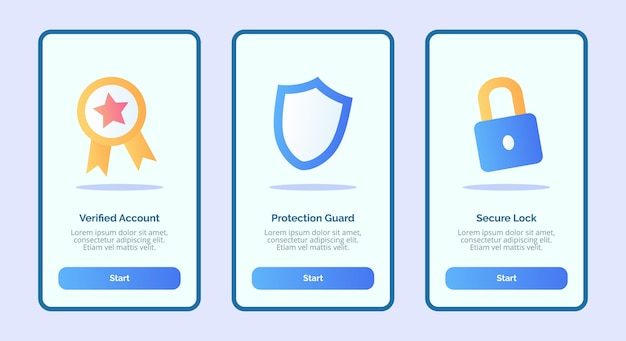 Security verified account protection guard secure lock for mobile apps template banner page ui