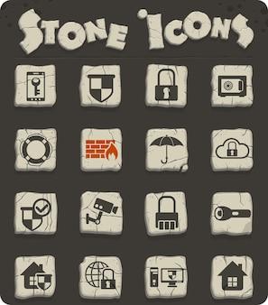 石器時代のスタイルの石ブロックのセキュリティwebアイコン