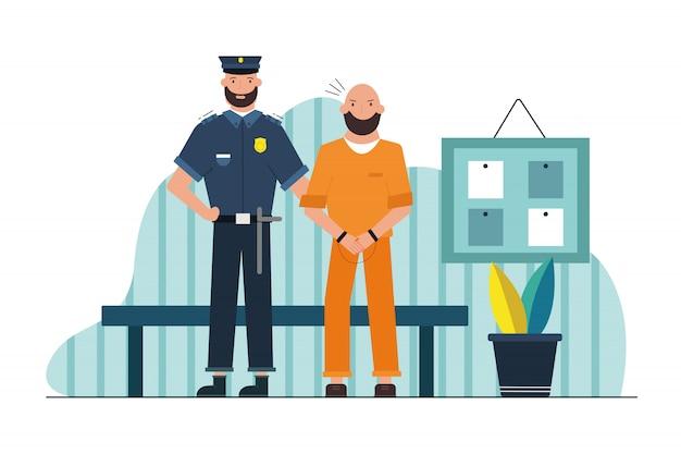 セキュリティ、仕事、危険、刑務所の概念。廊下で手錠をかけられて保持している男性の囚人を保持している若い深刻な男警官刑務官刑務所キャラクター。犯罪者の危険な職業投獄。