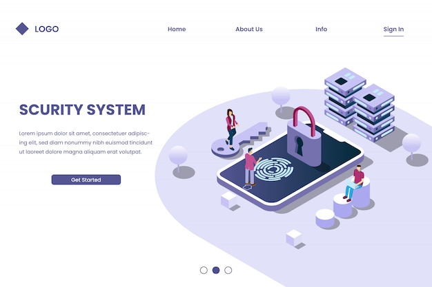 Secusecurity system with fingerprint detection in 3d isometric illustration stylerity system